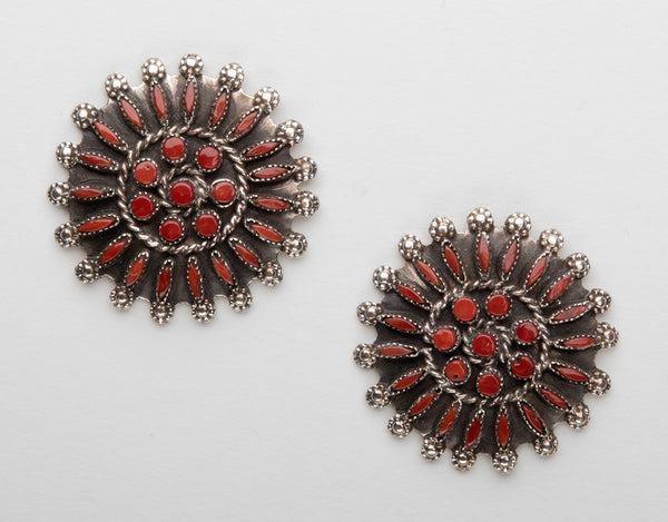 Red Coral Petit Point Earrings
