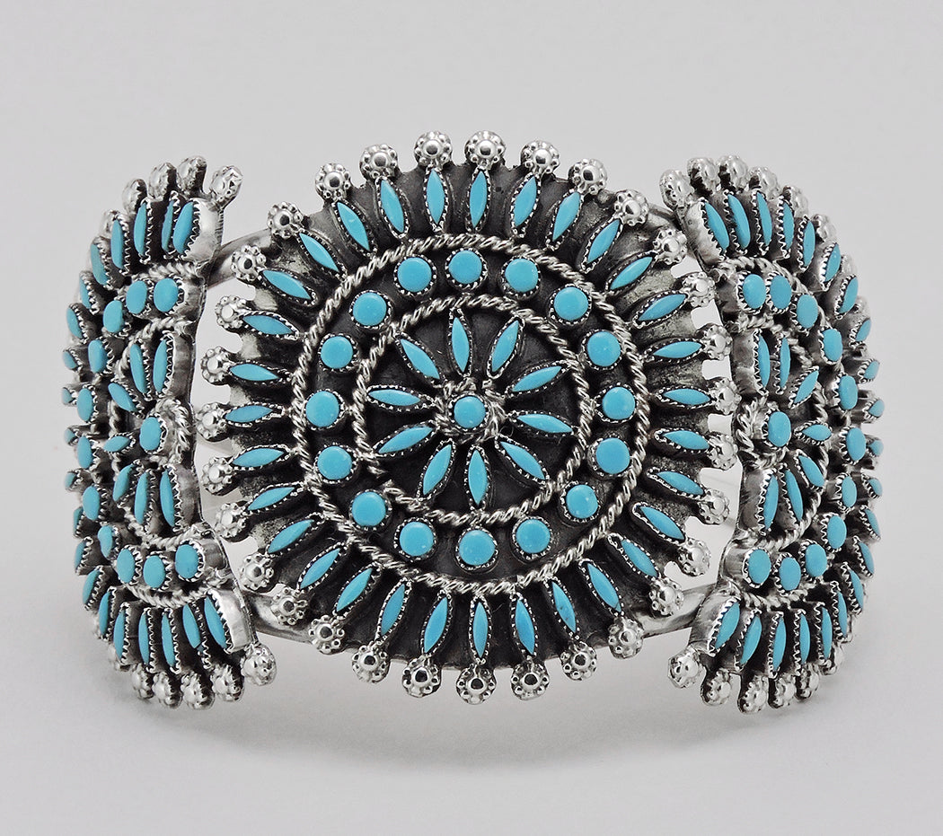 Elegant Sleeping Beauty Turquoise Petit Point Cuff Bracelet