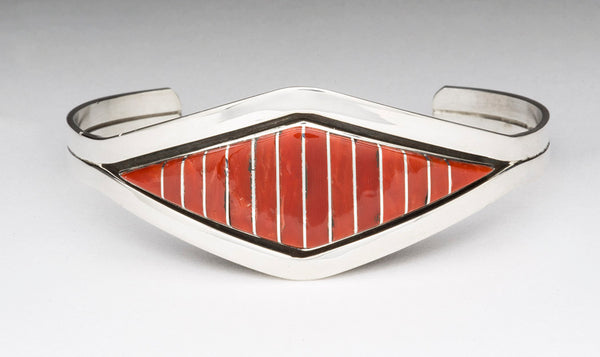 Sterling Silver & Red Coral Channel Inlay Cuff Bracelet