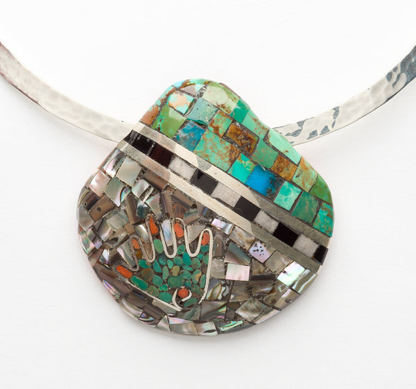 Hand Mosaic On Shell Pendant