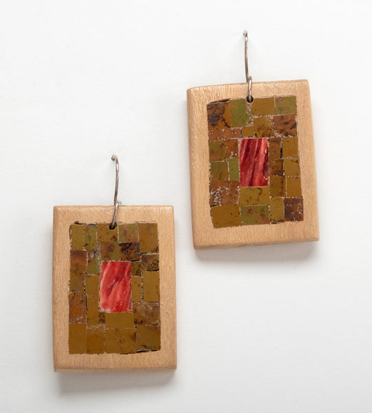 Cottonwood, Turquoise & Spiny Oyster Mosaic Earrings