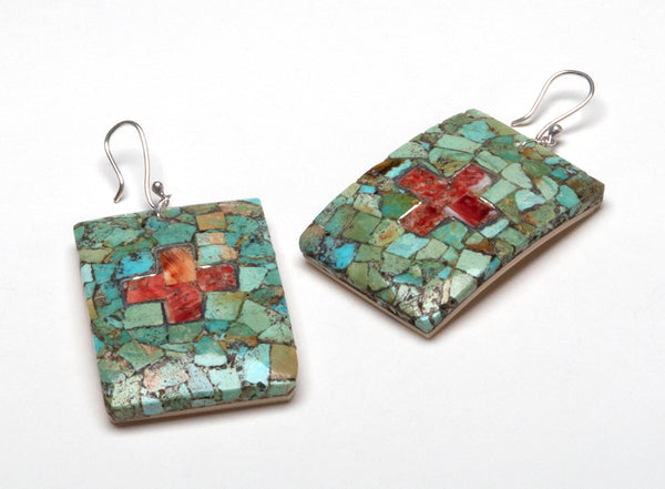 Turquoise, Sterling Silver, Red Coral & Melon Shell Mosaic Earrings