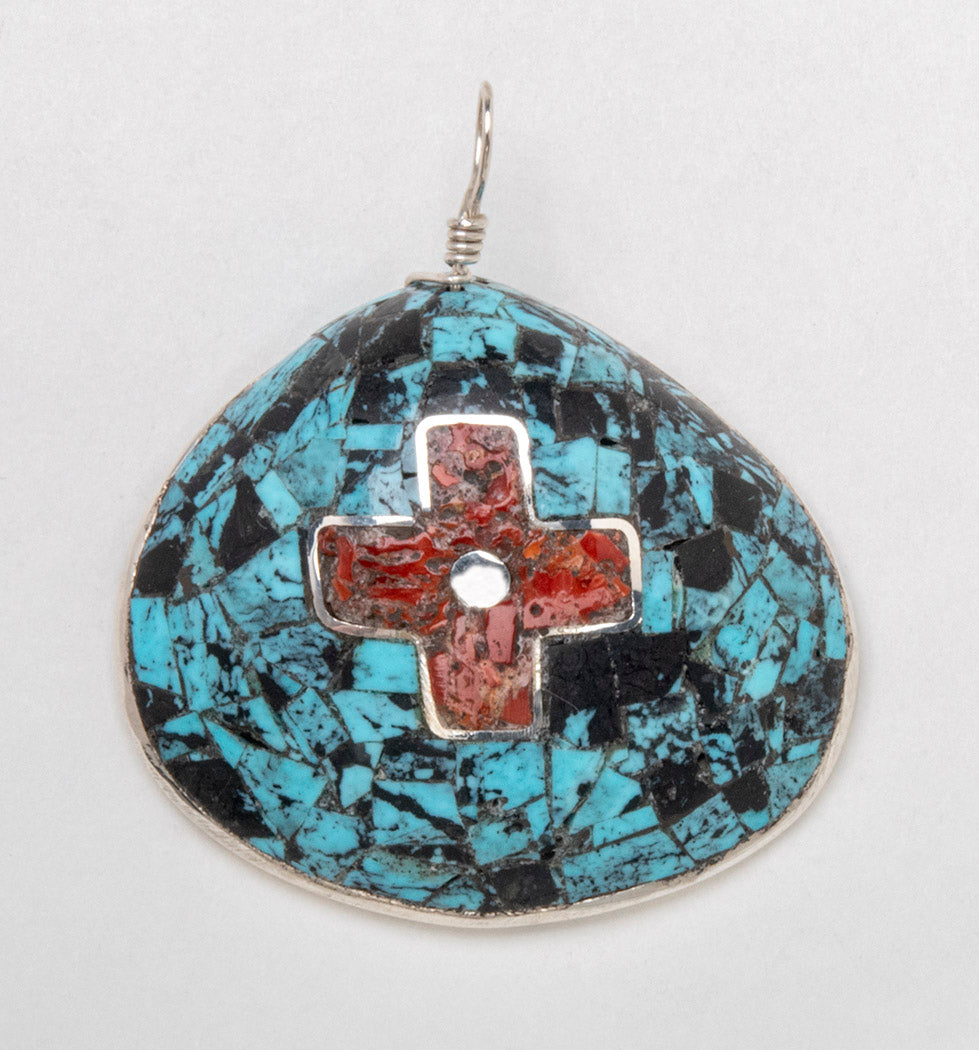 Turquoise and Coral Overlay Pendant