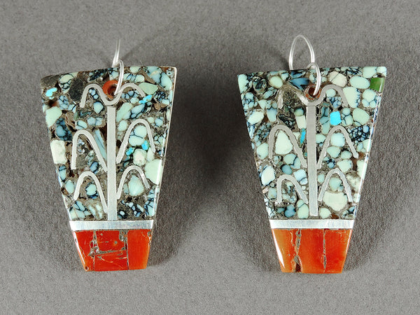 Mosaic Corn Earrings Of Old Landers Turquoise, Sterling Silver, Red Coral & Melon Shell