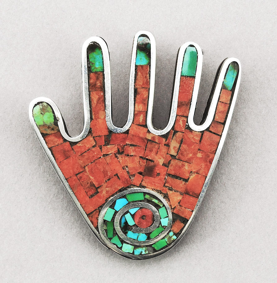 Distinctive Mosaic Hand Pin/Pendant