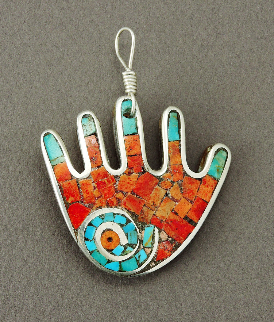 Mosaic Hand Pendant With Coral & Turquoise