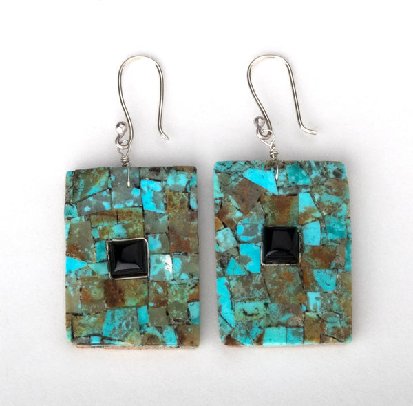 Mosaic Earrings Of Turquoise, Jet & Wood