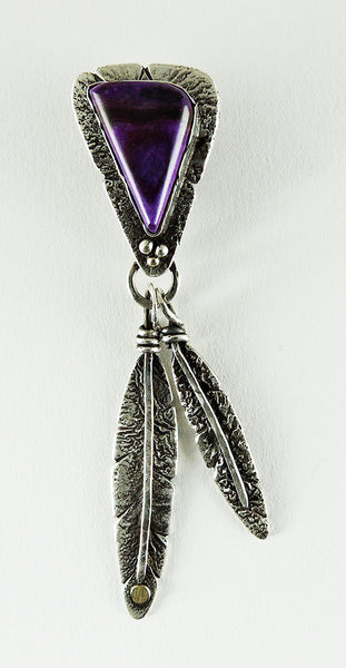 Sugilite Feather Pendant