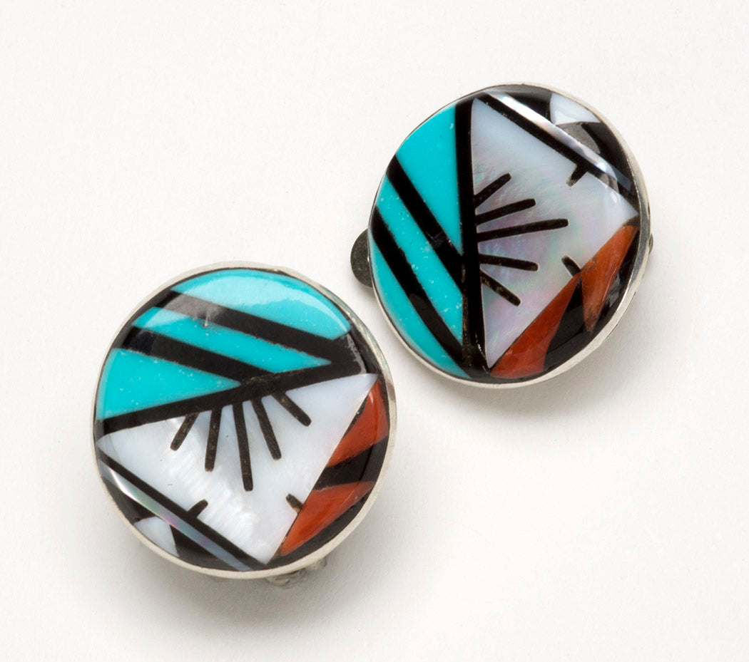 Stone-To-Stone Inlaid Clip-On Earrings