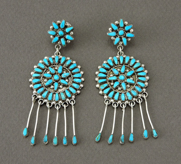 Sleeping Beauty Turquoise Petit Point Dangle Earrings