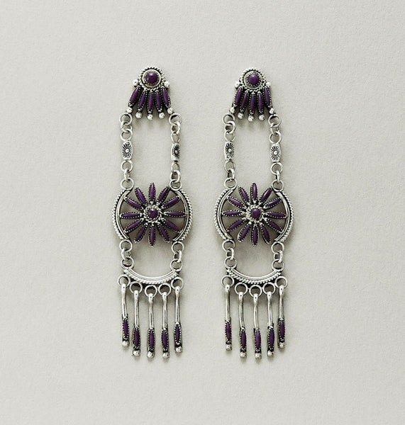 Needlepoint Sugilite Earrings