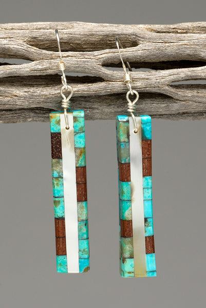 Turquoise, Wood & Mother-Of-Pearl Mosaic Earrings