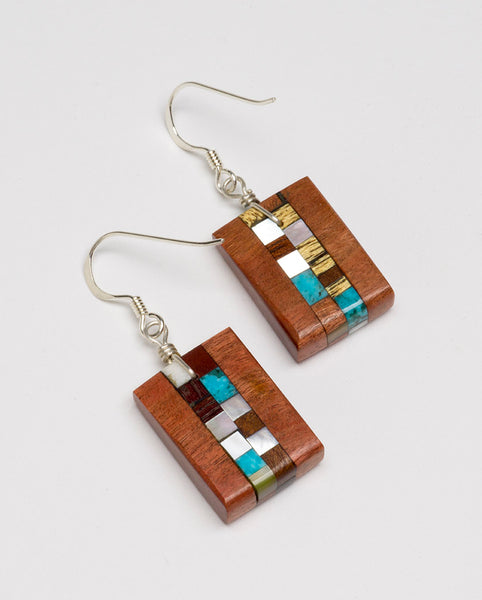 Stone Mosaic & Wood Dangle Earrings