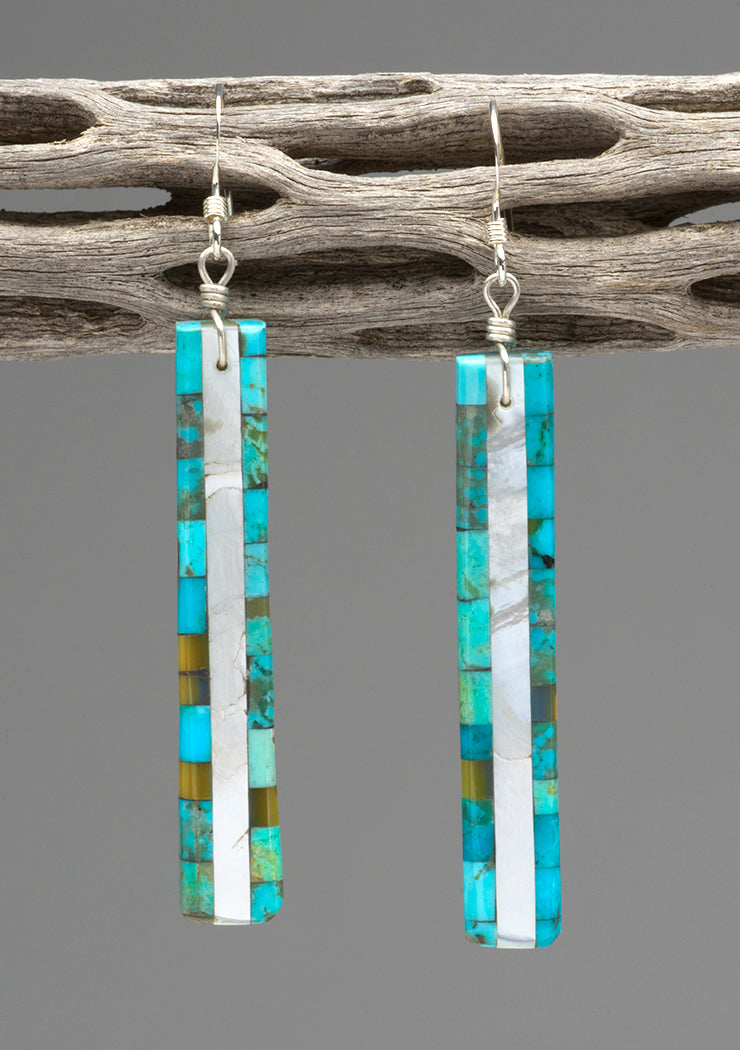 Turquoise, Mother-Of-Pearl & Gold Lip Shell Mosaic Earrings