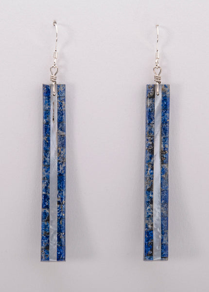 Reversible Lapis & Shell Curved Earrings