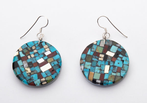 Micro Mosaic Circular Earrings