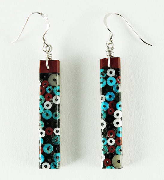 Mosaic On Wood Dangle Earrings