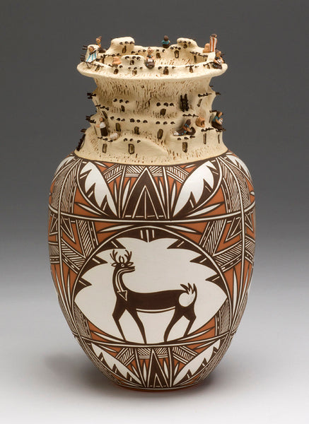 Deer In His House Pottery With Pueblo Scene