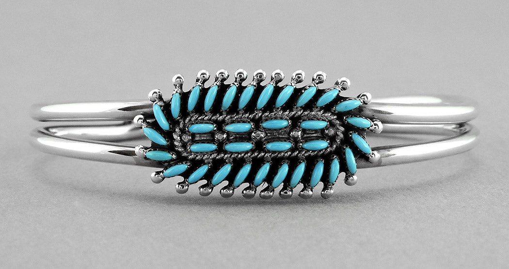 Distinctive Sleeping Beauty Turquoise Petit Point Cuff Bracelet