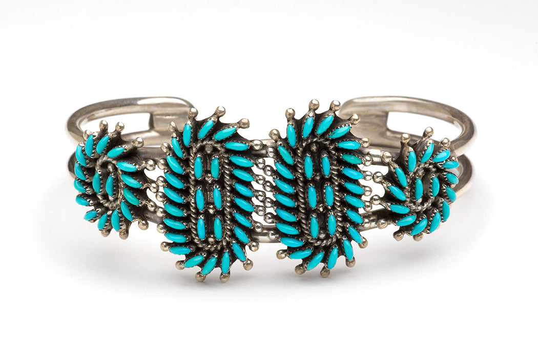 Sterling Silver & Sleeping Beauty Turquoise Petit Point Cuff Bracelet