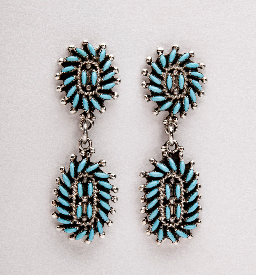 Sleeping Beauty Turquoise Petit Point Earrings