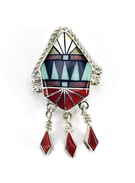 Inlaid Pendant Of Gold Lip Shell, Red Coral, Green Turquoise & Jet