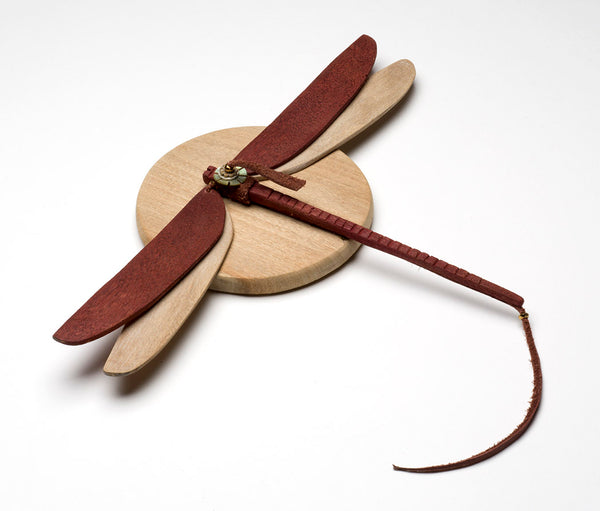 Stained Cottonwood & Leather Dragonfly
