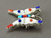 Lapis, Mother-Of-Pearl, Turquoise & Red Coral Butterfly Pin/Pendant