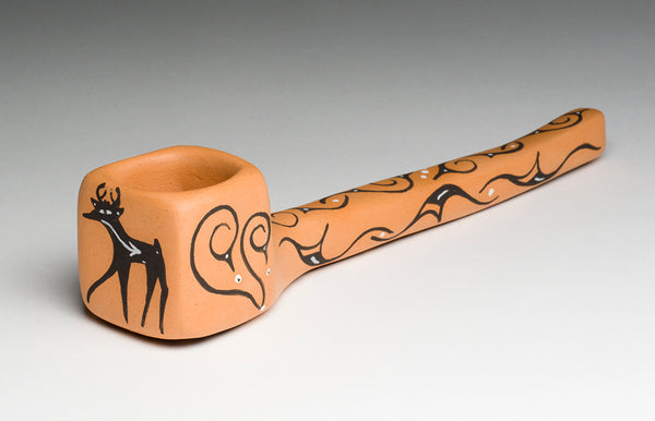 Deer & Water Birds Pottery Pipe