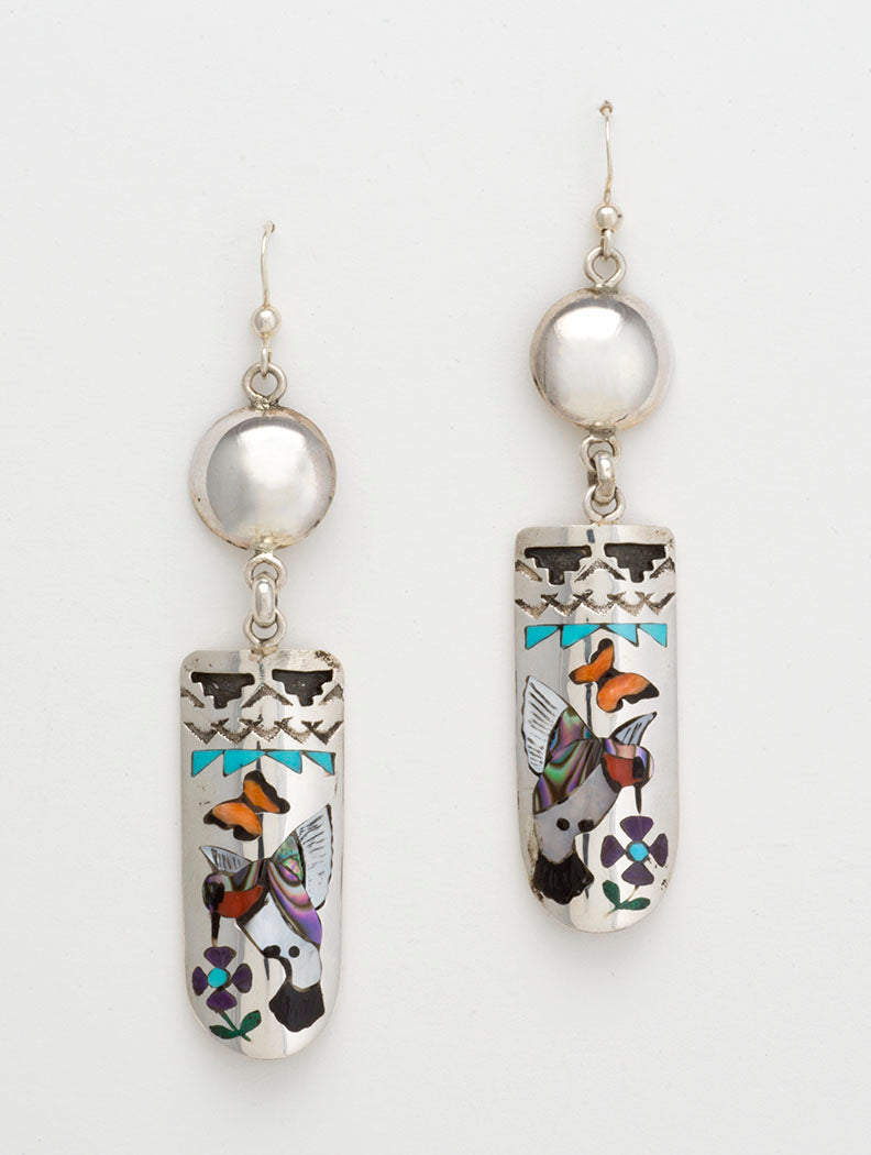 Butterfly, Hummingbird & Flower Inlaid Earrings