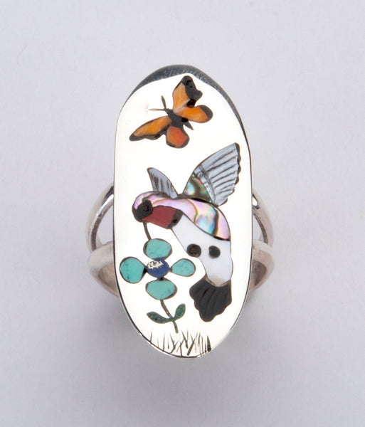Inlaid Hummingbird & Butterfly Ring