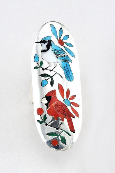 Inlaid Blue Jay & Cardinal Ring