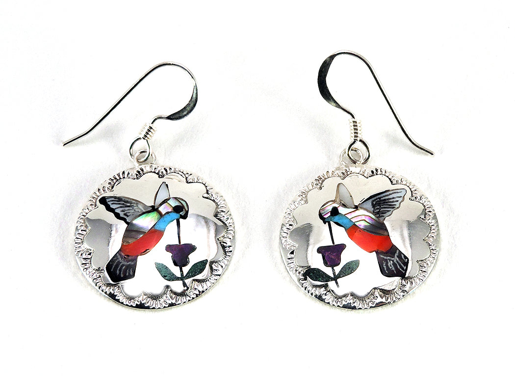 Hummingbirds Sipping Nectar Inlaid Earrings