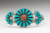 Carved Sleeping Beauty Turquoise & Red Coral Rosette Cuff Bracelet