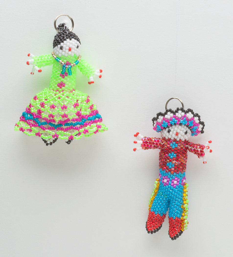 Hand-Beaded Navajo Girl & Comanche Boy Set of Ornaments