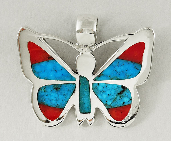 Kingman Turquoise & Red Coral Butterfly Pendant