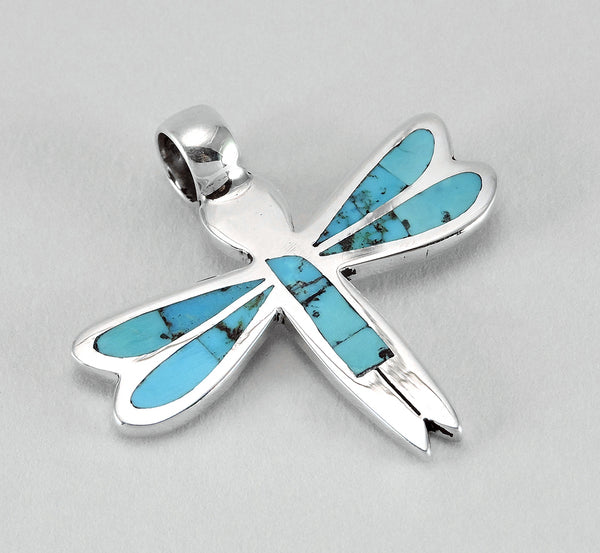 Turquoise & Sterling Silver Dragonfly Maiden Pendant