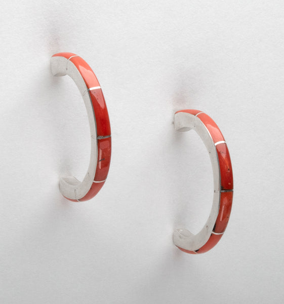 Sterling Silver & Natural Red Coral Channel Inlay Earrings