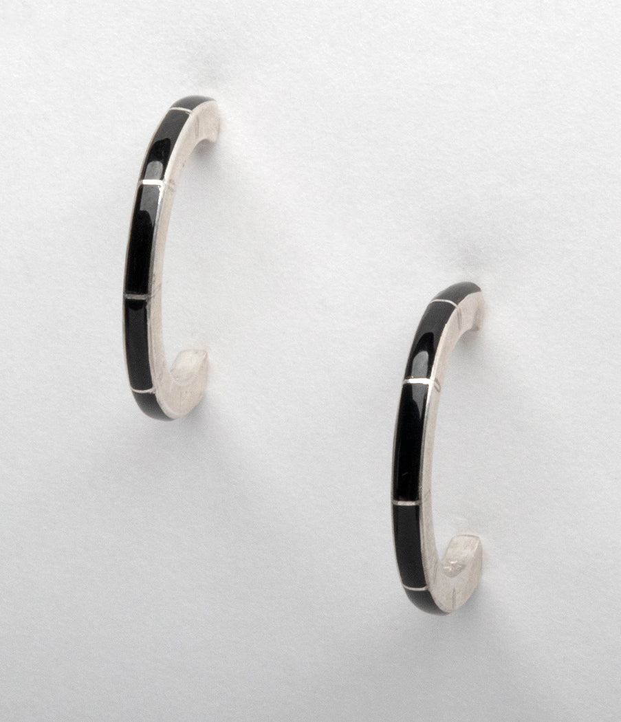 Sterling Silver & Jet Channel Inlay Half-Hoop Earrings