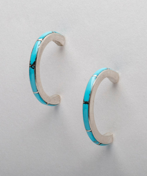 Bright Blue Turquoise Half Hoop Earrings