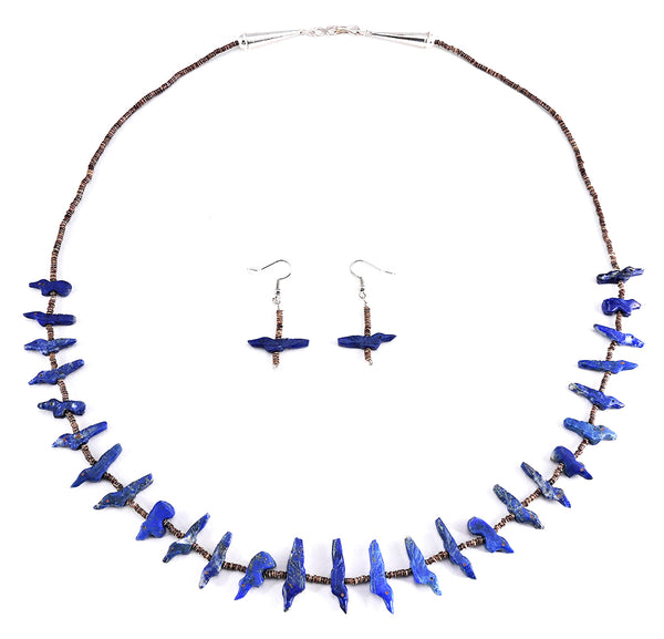 Lapis Birds & Bears Fetish Necklace & Earrings Set