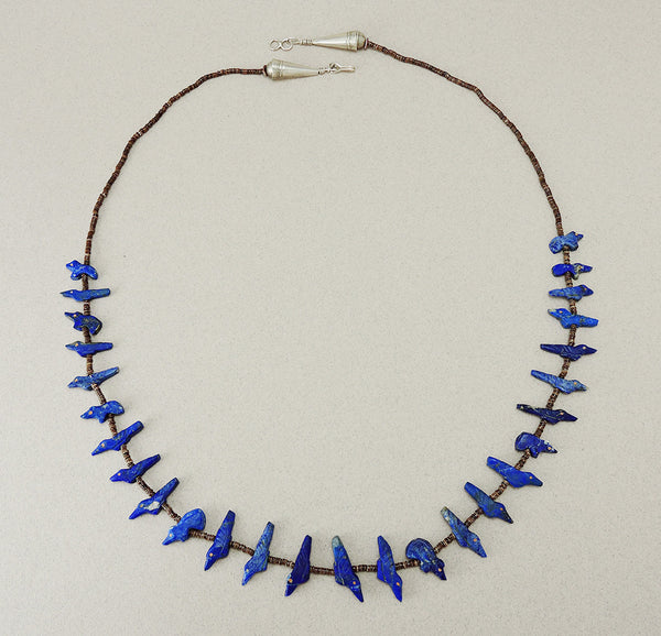 Single Strand Lapis Bird & Bear Fetish Necklace