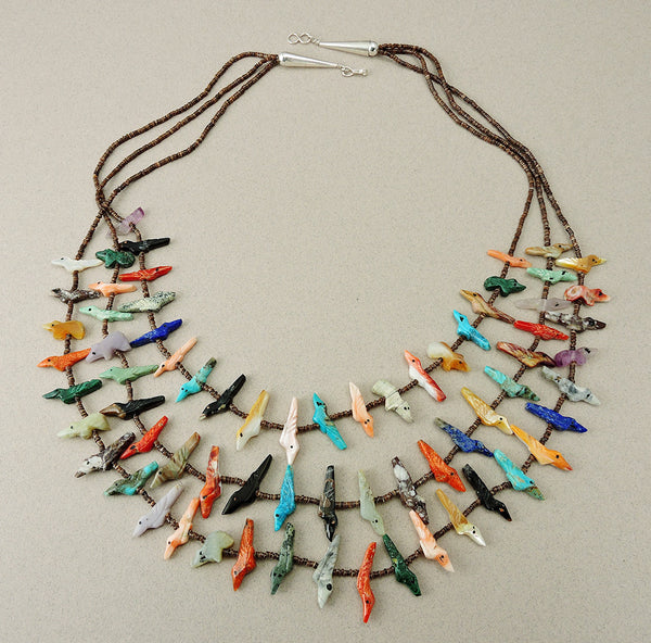 Triple Strand Bird & Bear Fetish Necklace Of Many Colorful Materials