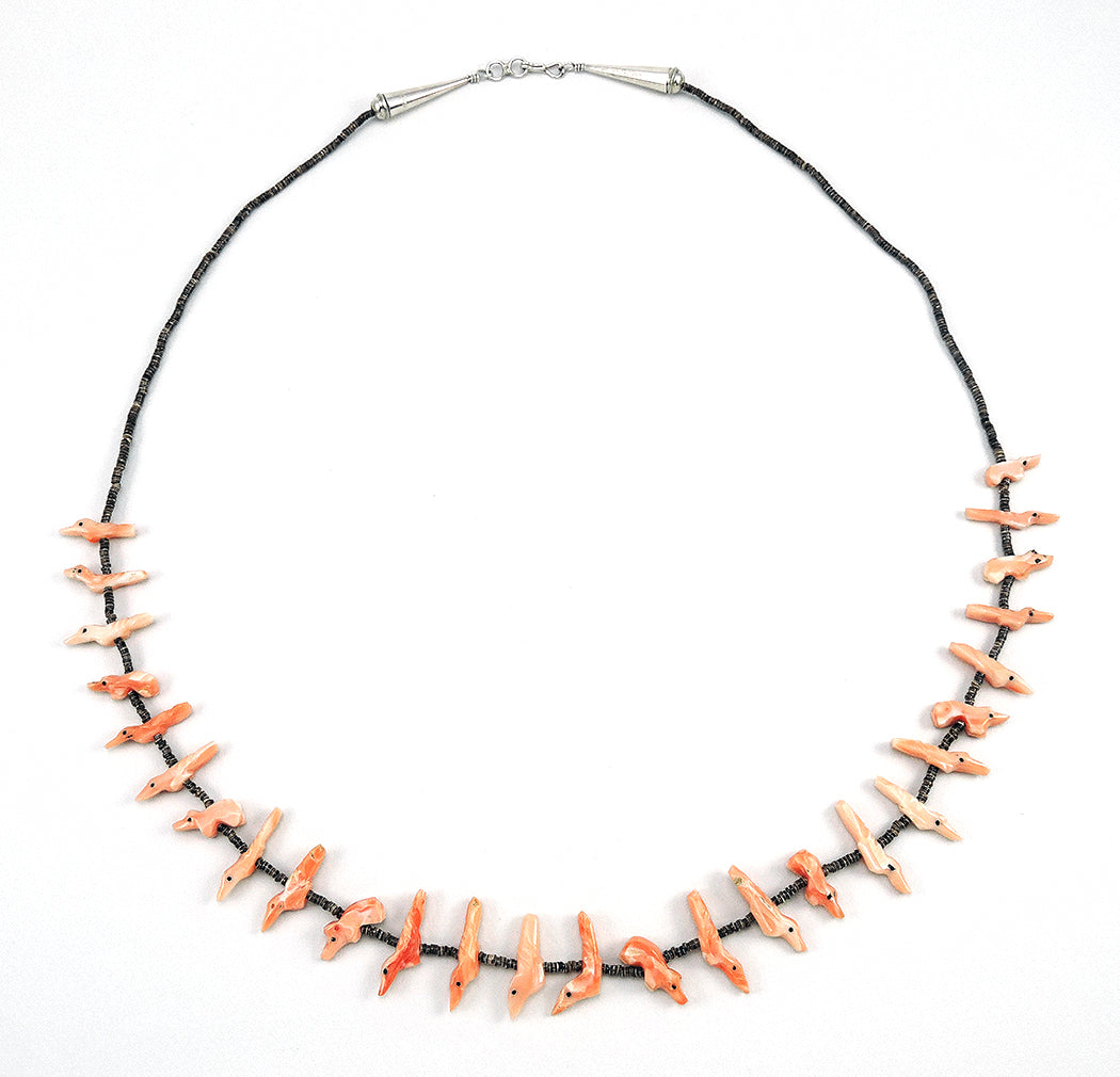Natural Pink Coral Bears & Birds Single Strand Fetish Necklace