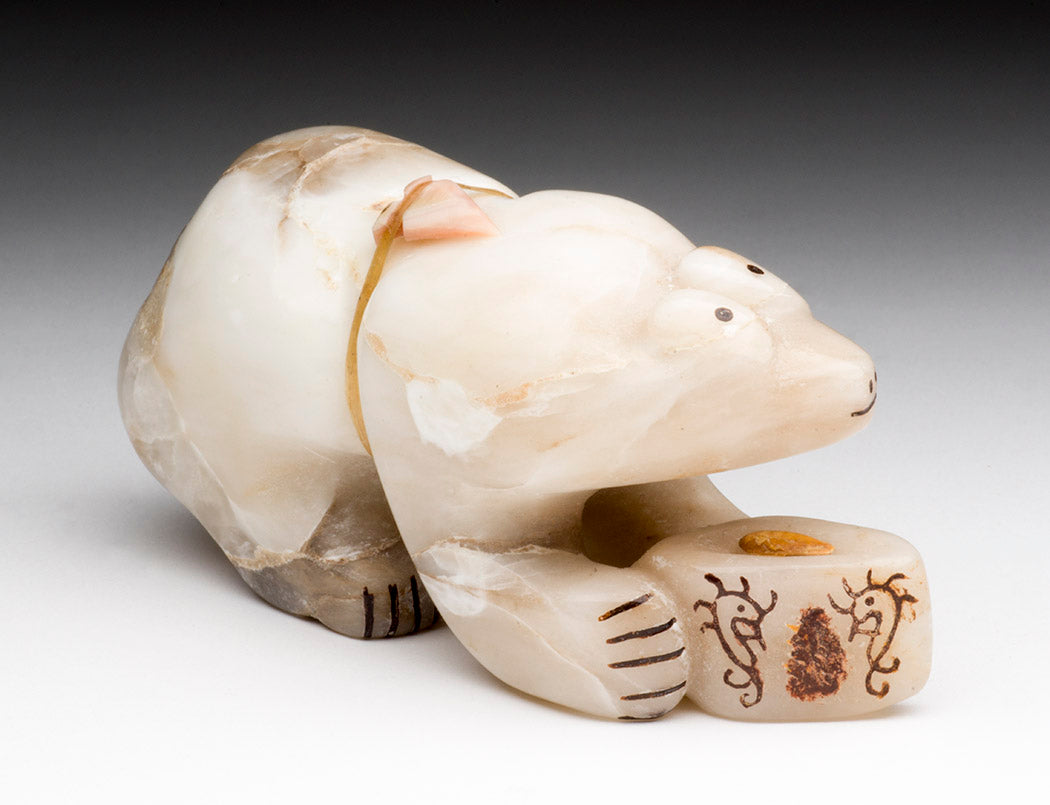 Alabaster Bear With Offering Jar