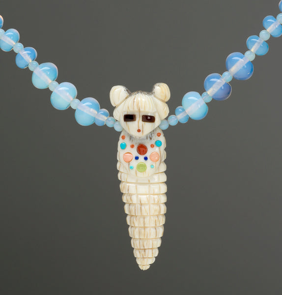 Antler Corn Maiden Pendant Necklace With Opalite Beads