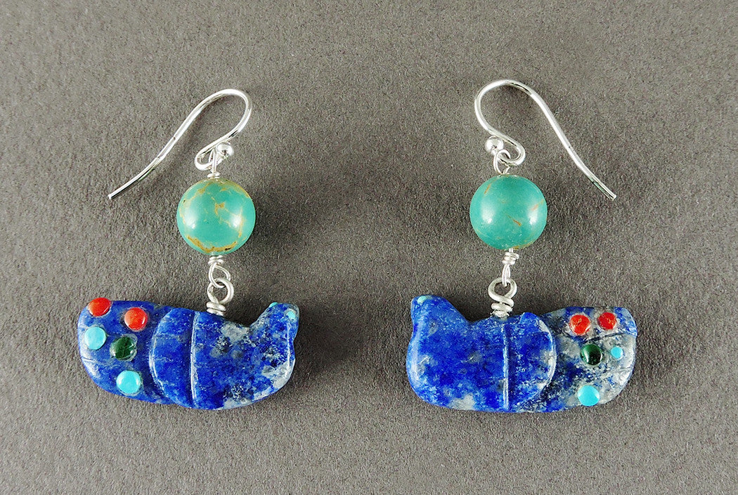 Lapis & Turquoise Feathered Friend Earrings