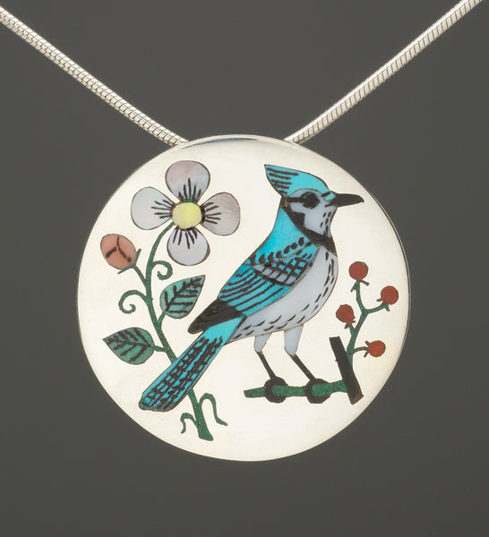 Inlaid Blue Jay Pin/Pendant