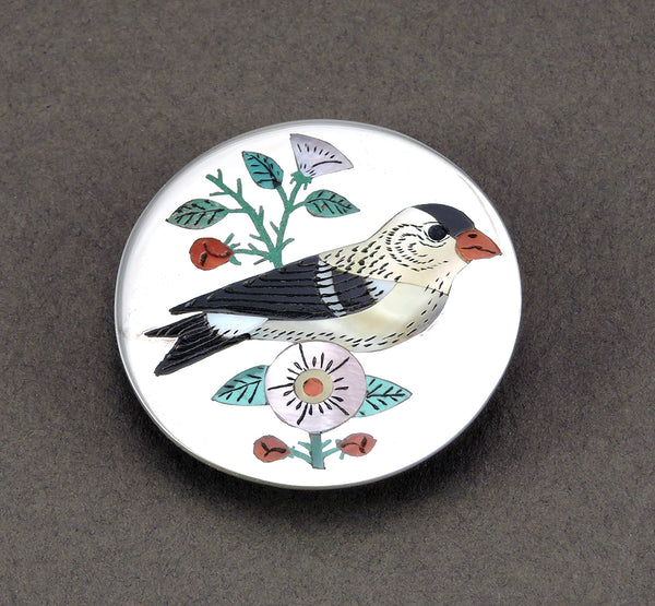 Springtime Bird & Flowers Inlaid Pin/Pendant