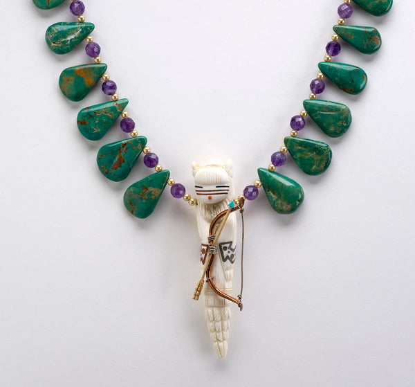 """Warrior Maiden"" Pendant Necklace Of Antler, Turquoise, Amethyst & Pearls"